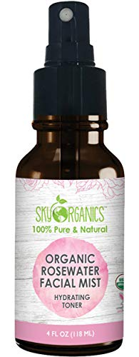 Organic Rose Water Toner by Sky Organics (4oz) 100% PureDistilled Rosewater Toner for Face & Hair- Best Gentle Facial Cleanser - Dry & Acne Prone Skin for Serums Moisturizers & Makeup