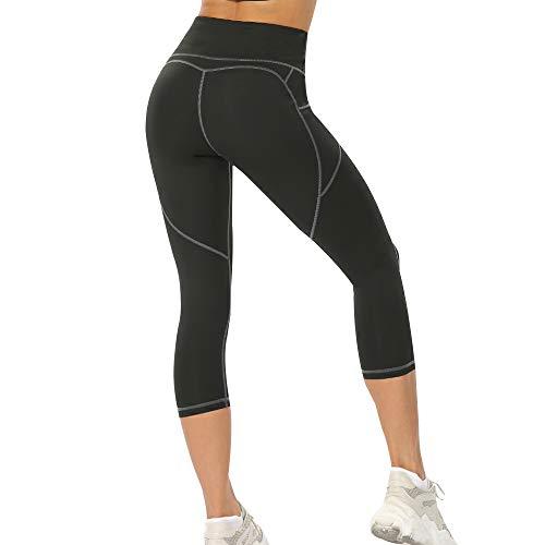 Laufhose 3/4 Länge Damen Elastische Yogahose mit Hosentasche Hohe Taille Sport Leggins für Fitness 2 Stile Schwarz(Schwarz B 3/4 Lang, XL)