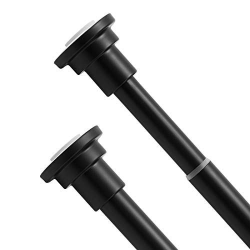 Hododou Telescopic Spring Tension Rod Extendable Length 83-150cm for Bathroom Bathtub Kitchen Wardrobes Doorways, Heavy Duty Rust-Resistance Adjustable Hanging Pole with No Drilling, Matte Black