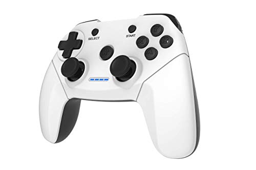 Maegoo Mando PC PS3 TV Inalámbrico, 2.4GHz Wireless Game Controlador Gamepad Joystick con Dual Shock Recargable para Sony Playstation 3 y PC Windows 10 XP 7 8 Smart TV/TV Box (Blanco+Negro)