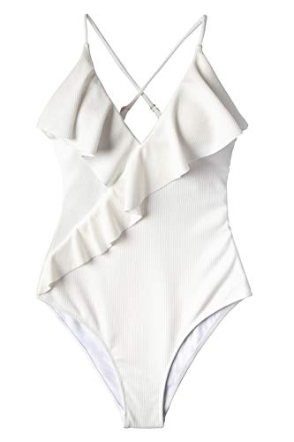 CUPSHE Women's One Piece Swimsuit Ruffle Wrap Textured Beach Swimwear Bathing Suits White L