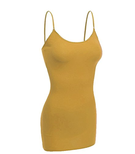 Emmalise Women's Basic Casual Long Camisole Cami Top Regular and Plus Sizes, Mustard, Large