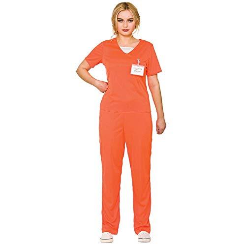 Adult's Women's Orange Convict Prisoner Shirt & Trousers Fancy Dress Costume-Small
