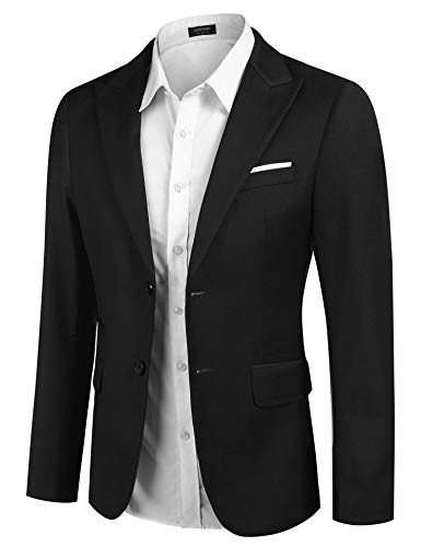 Boyland Men's Sequins Floral Suit | Notched Lapel Slim Fit Stylish Blazer Black