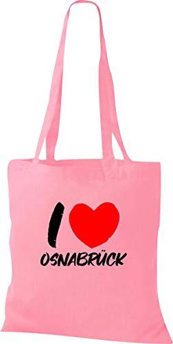 Shirtinstyle Stoffbeutel, I Love OSNABRÜCK, Lieblingsstadt, Heimatort, Familie, Urlaub, City, Stadt, sprüche, Beutel, Jute, Tasche, Shopper, Farbe Classic pink