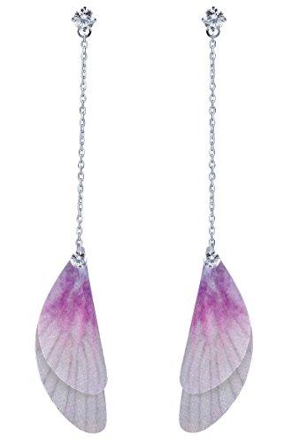 Infinito U 925plata esterlina Zirconia cúbico de la chica pendientes de gota de alas de mariposa,...