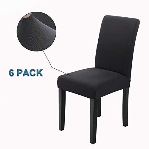 Veakii R Fundas para sillas Pack de 6 Fundas sillas Comedor, Lavable Comedor Asiento Cubre para el Comedor casero Modern Bouquet de la Boda, Hotel, Decor Restaurante (Negro, Pack de 6)