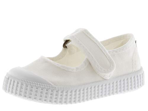 Victoria Mercedes Velcro Lona Tinta, unisex låga sneakers för barn, Vit 20 vit - 28 EU