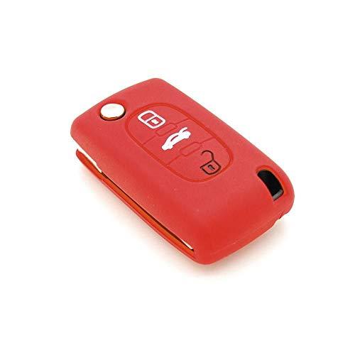 Générique Housse de clé en Silicone pour Citroën C1 C2 C3 C4 C5 3 Boutons Rouge