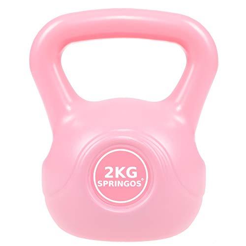 SPRINGOS Kettlebell, Kugelhantel, Schwunghantel für Frauen, Gewichtheben, Sportgerät, Fitness, Gewicht Training, Muskelaufbau, Krafttraining (Rosa 2 kg)