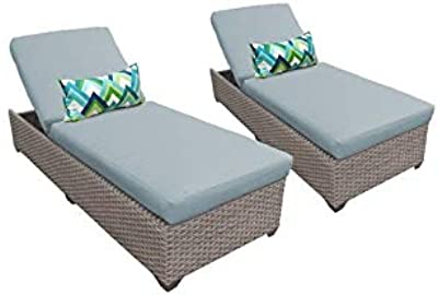 TK Classics FLORENCE-2x-SPA Florence Set of 2 Furniture Outdoor Wicker Patio Chaise Lounges, Spa