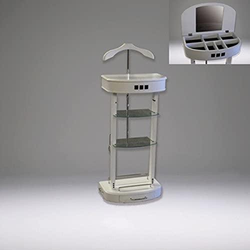 Casa Padrino Designer Luxus Garderoben Ständer mit Spiegel und Regalen Weiß - Dressboy - Kleiderständer Anzugständer - Barock Empire Art Deco Jugendstil Biedermeier