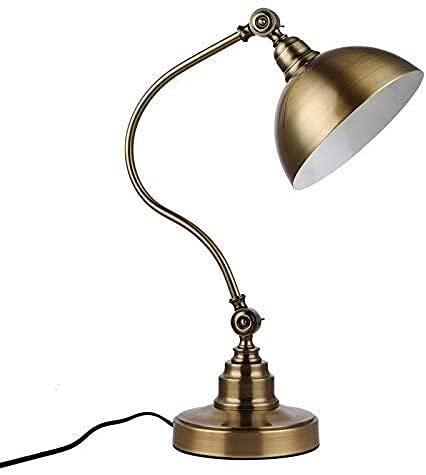 LATOO Lámpara de Mesa Lámpara de Mesa, lámpara de Mesa de Cobre de Paso de Estilo, lámpara de Noche para Dormitorio, Estudio Regulable, Mesa de protección Ocular Retro Corta