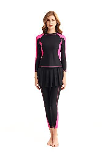 Damen Ganzkörper-Badeanzug Rash Guard Langarm Lange Beine Bademode mit Schwimmrock Set -  Pink -  Medium