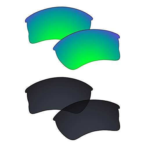 Galvanic Replacement Lenses for Oakley Quarter Jacket OO9200 Sunglasses - Jade + Black Polarized - Combo Pack