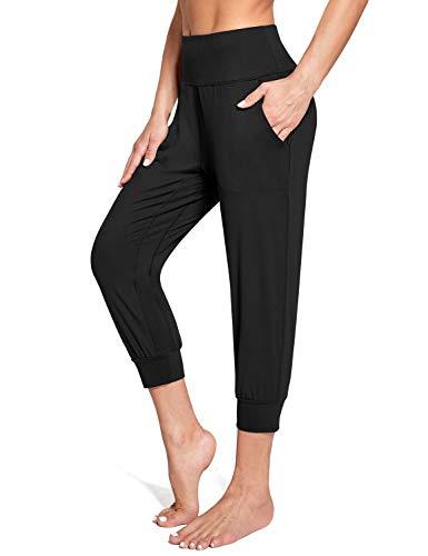 BALEAF Women's Cropped Joggers Capri Pants High Waisted Yoga Capri Sweatpants Fitted Workout Lounge Leggings Black Size M