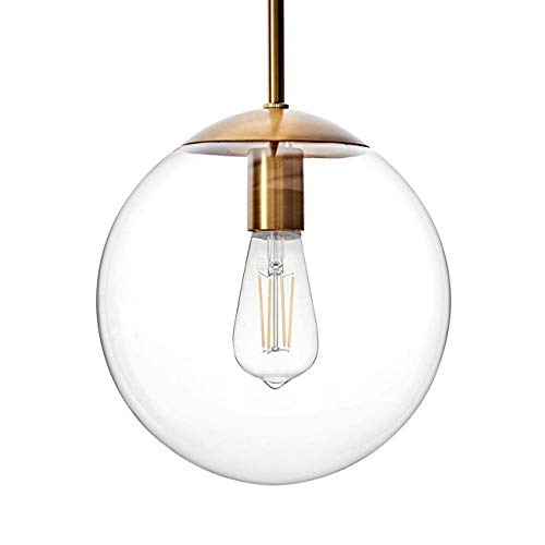 MOTINI Large Globe Pendant Light Fixture 10 Inch, Gold Brushed Brass with Clear Glass Shade, Single Ceiling Hanging Pendant Lighting for Kitchen Island Dining Room