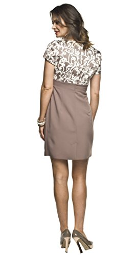 2in1 Elegantes und bequemes Umstandskleid/Stillkleid, Modell: Ronja, beige - 4