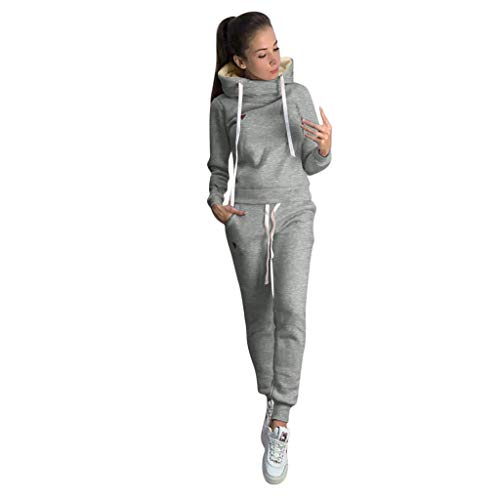 HDUFGJ Hoodies Damen Jogginganzug Trainingsanzug Sportanzug Sweatshirt Top Hosen Sets Sport Wear Casual SuitXXL(Grau)