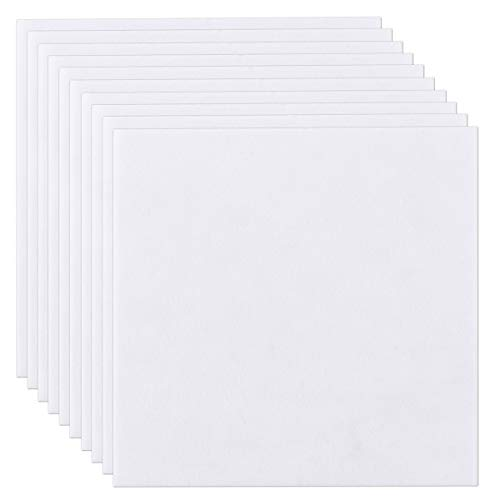 Panpan 10 Sheets 30cm*30cm Felt Sheets Felt Fabric Scrapbooking Supplies DIY Felt Sheet Rectangles for Craftwork Sewing Patchwork Arts and Crafts, 1mm Thick, White