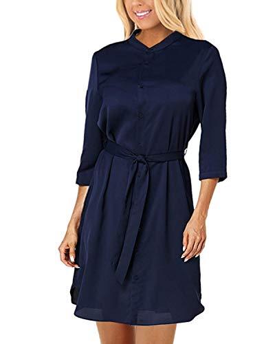 Yoins Vestido de mujer, largo hasta la rodilla, de manga larga, elegante, para otoño, invierno, túnica, escote en V, con...