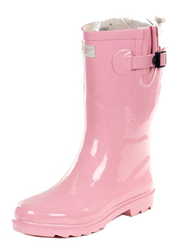 Forever Young Women's Pink Rubber 11-inch Mid-Calf Rain Boots 9