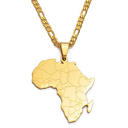 YZYZ Collar con colgante de mapa de África, estilo hip hop, para mujer y hombre, con tarjeta de regalo #043821