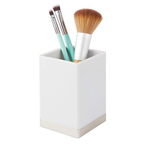 mDesign Organizador de baño Decorativo de plástico sin BPA – Porta cepillos...