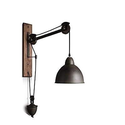 KY LEE Industrial Wall lamp Wall lamp Fixture Adjustable Pulley Wheel Wall lamp E26 Socket