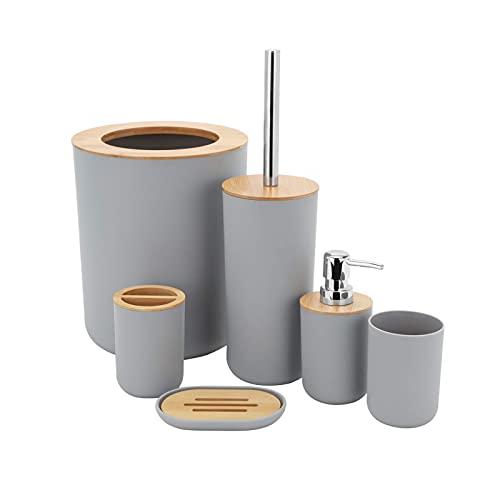 MisFox Juego de 6 Piezas Accesorios de Baño de Bambú con Dispensador de Jabón, Cubo de Basura, Vaso para Cepillo de Dientes, Soporte para Cepillo de Dientes, Jabonera y Escobilla para Inodoro (Gra)
