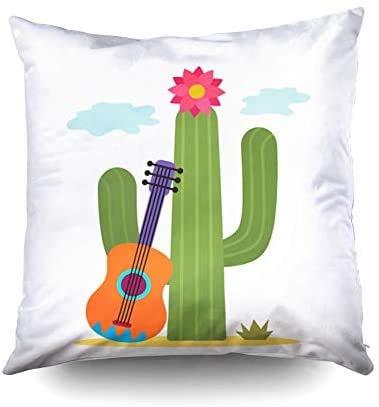 Short Sleeve La Mejor Almohada, Funda de Almohada Cuadrada Cubre Cactus estándar con una ilustración Plana de Guitarra Mexicana aislada sobre Fondo Blanco Impresa con Ambos Lados