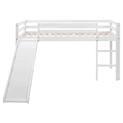 Chilits Loft Bed with Slide and Adjustable Ladder for Kids/Toddlers, Wood Low Sturdy Loft Bed Frame, No Box Spring Needed