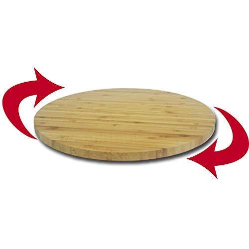 DRULINE Drehteller Holzplatte Kuchenplatte Tortenunterlage Tortenplatte drehbar aus massivem Bambusholz | L x B x H 35 x 35 x 2,5 cm | Natur