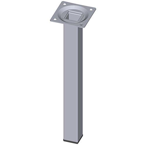 Element System 4 Stück Stahlrohrfüße eckig / Tischbeine / Möbelfüße / inkl. Anschraubplatte / L 25 cm / chrom / 4 Farben / 10 Abmessungen
