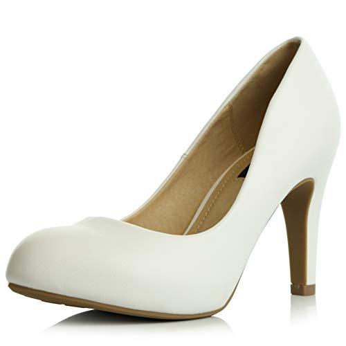 DailyShoes Women's Memory Foam Cushion High Heel Pump Pumps Heeled Closed Round Toe Spring Autumn Shoes Heels Street Office Fashion Stiletto White,pu,11