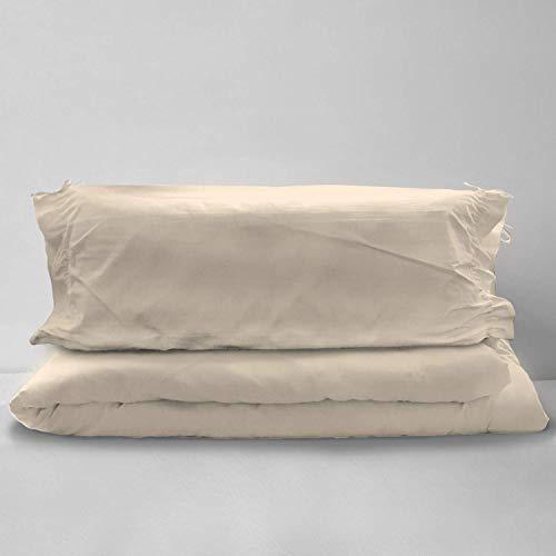 Pizuna 400 hilos Juego de edredón Beige, cama de 180 cm, 2 piezas, 100% algodón de fibra larga y satén, incluye: 1 funda de edredón 270x250 cm y 2 fundas de almohada grande 45x90 cm (cordón ajustable)
