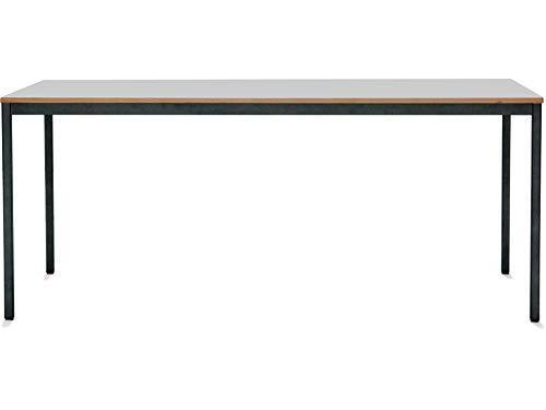 Modulor Tisch M1 mit grauem Tischgestell M und geperlter Tischplatte (1,9 x 80 x 160 cm), Schreibtisch mit Echtholzumleimer, metallic-grau und weiß (80 x 160 cm)
