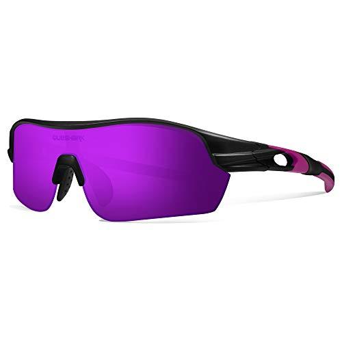 Queshark Gafas de sol Deportivas con 1 Polarizadas Lentes 3 HD Lentes Intercambiables para Hombres Ciclismo Correr Conducir Pesca Golf Gafas de béisbol QE0047