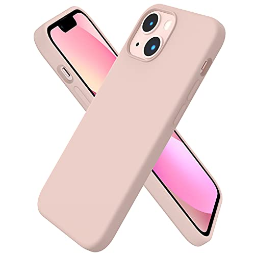 ORNARTO kompatibel mit iPhone 13 Mini 5,4 Silikon Hülle, Hülle Ultra Dünne Voller Schutz Flüssig Silikon Handyhülle Schutz für iPhone 13 Mini(2021) 5,4 Zoll-Einfarbiges Rosa