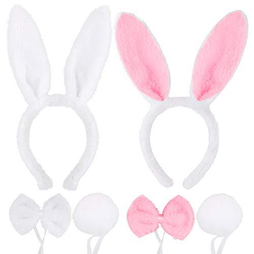 FLOFIA 2 Conjuntos Disfraz Conejo Diadema Orejas Conejo Bunny Ears + Pajarita Cola de Felpa Accesorios de Disfraz Bunny Mujer Niña Adulto para Fiesta Pascua Cosplay, Sets Blanco + Rosa, 6pcs