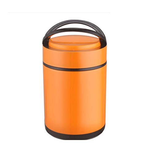 JJZXT Naranja aislada Caja de Almuerzo - Acero Inoxidable aisló la Caja de Almuerzo del Metal portátil envase de alimento