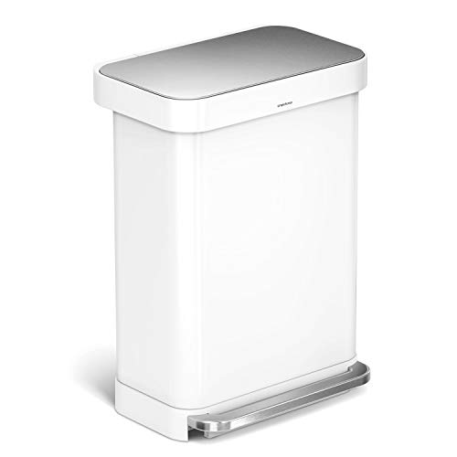 simplehuman 55 Liter / 14.5 Gallon Stainless Steel Rectangular Kitchen Step Trash Can with Liner Pocket, White Steel