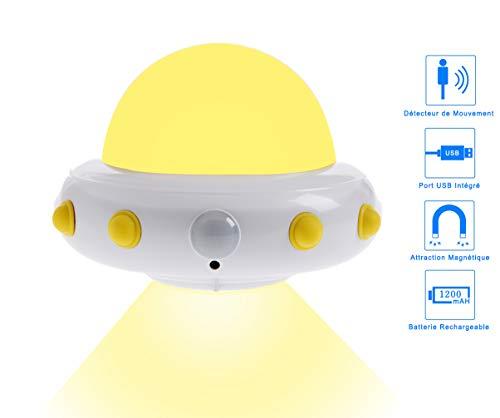 Design UFO LED nachtlampje met bewegingsmelder - bedlampje voor baby boy meisje room