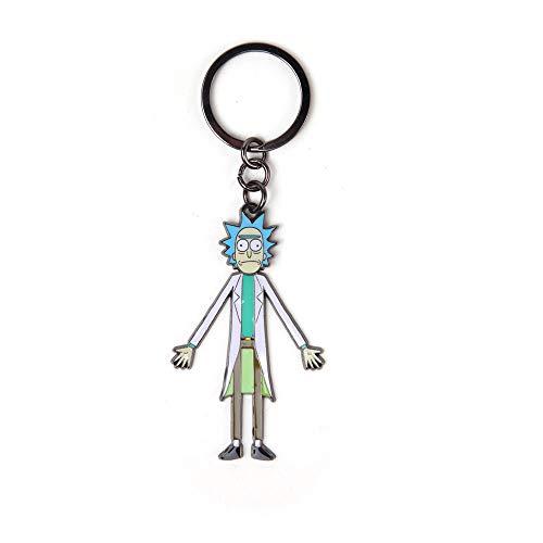 Rick and Morty MORTY with Moveable Head Metal Keychain, Multi-colour (KE665142RMT) Portachiavi ad anello e catena, 16 cm, Grigio (Grey)
