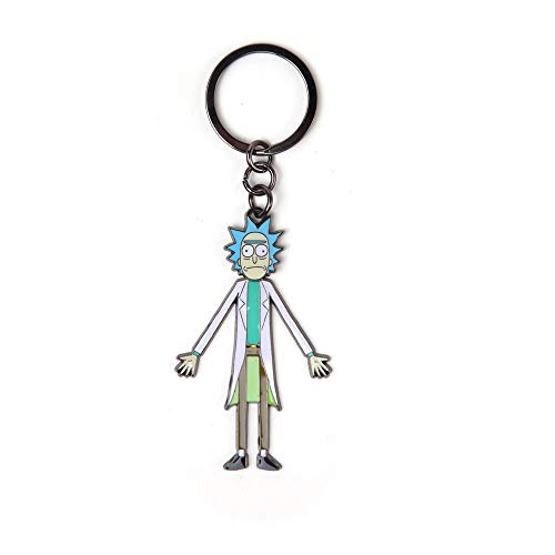 Rick and Morty MORTY with Moveable Head Metal Keychain, Multi-colour (KE665142RMT) Portachiavi ad anello e catena, 16 cm, Grigio (Grey)