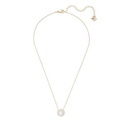 Swarovski Sparkling Dance Round Necklace, White, Rose-gold tone plated
