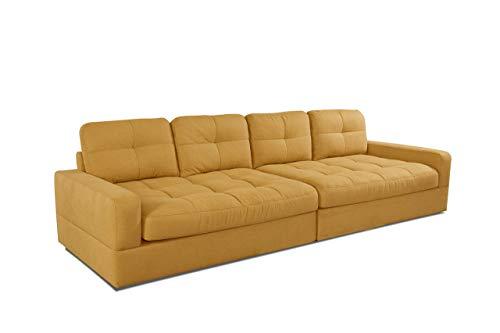 CAVADORE Big Sofa Faro / Große Couch mit pflegeleichtem Soft Clean Bezug / Einfache Fleckentfernung / 302 x 88 x 108 / Flachgewebe, gelb