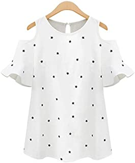 Wanxiaoyyyindx T Shirts for Women, Blouse Women's Off-Shoulder Star Print Shirt Short-Sleeved Loose Thin Blouse Butterfly ...