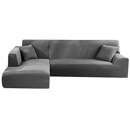 LITTLEGRASS Sofabezug Sofaüberwürfe für L-Form Elastische Stretch 2er Set für 3 Sitzer + 3 Sitzer(190-230cm) Grau