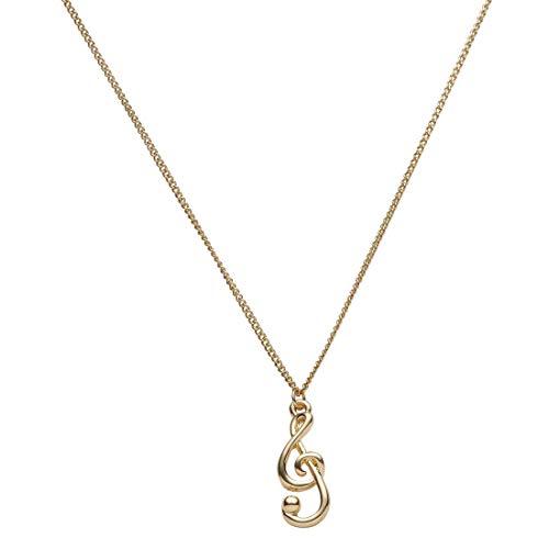 Draeger Paris – Collar de fantasía de metal dorado, nota musical, sin níquel, 45 cm, ideal para un regalo personalizado y diseño